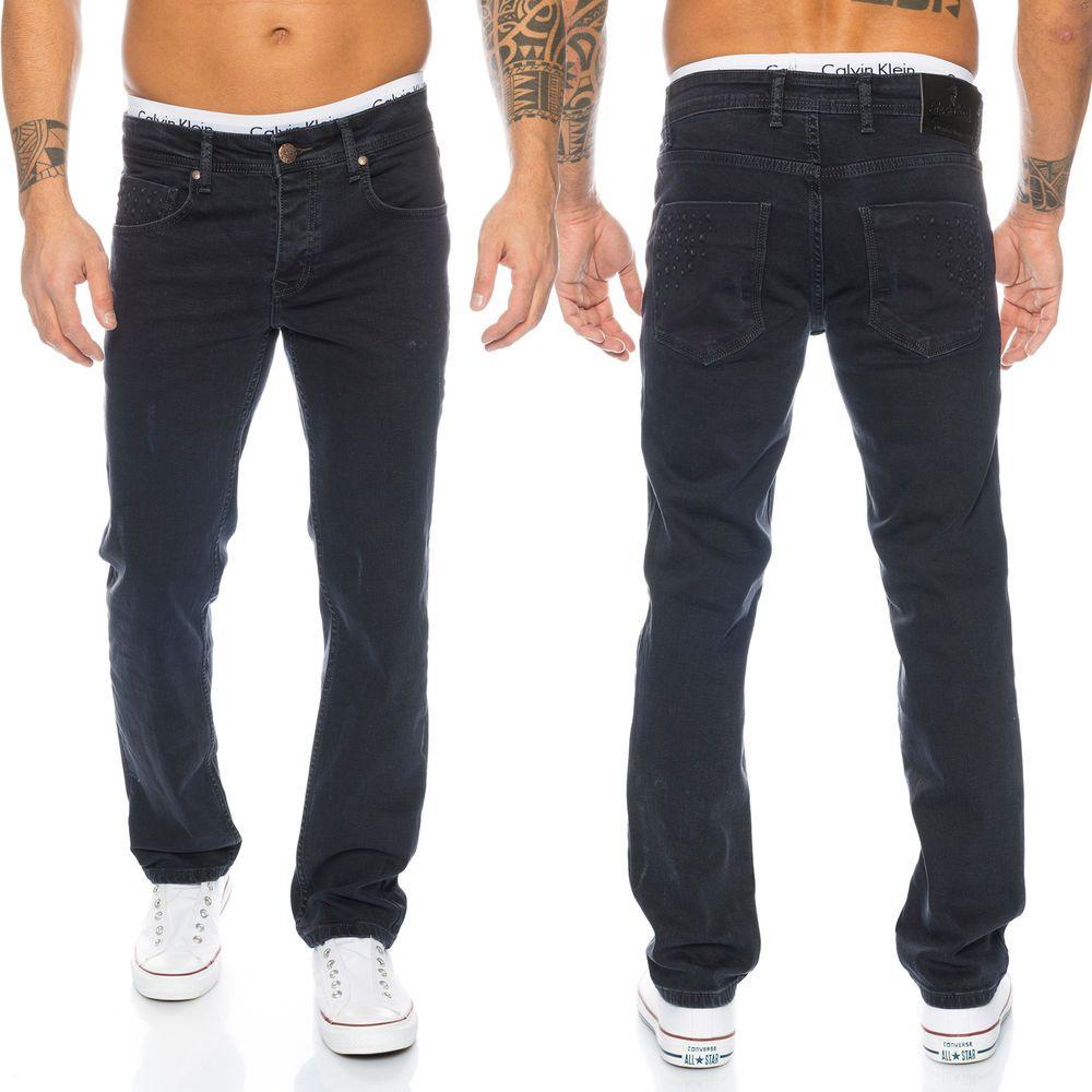 Designer Rock Creek Herren Jeans Hose Stretch Jeans Schwarz