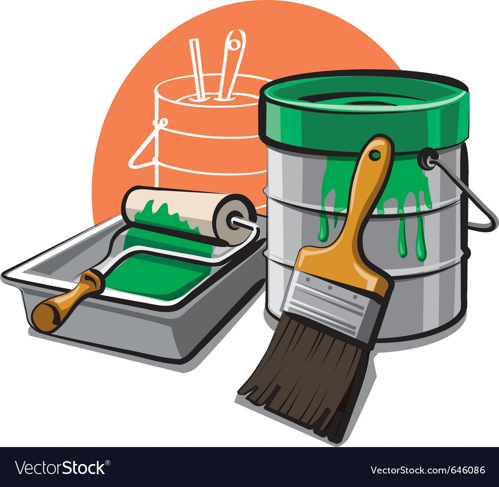 Paint Bucket And Brush Vector Image On In 2020 Paint Buckets Brush Vector Images