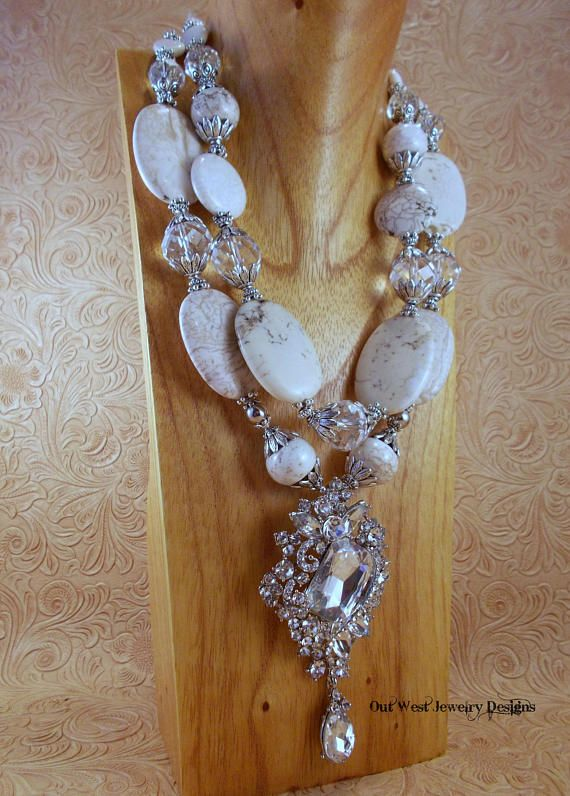 Chunky Western Style Statement Necklace White Howlite