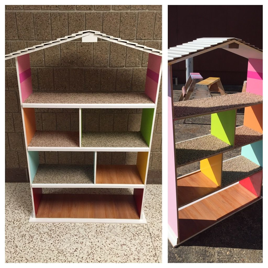 Barbie Doll House 1 2 Ac Plywood Pine Casing Overlapped For The Roof Each Room Painted D School Woodworking Project Barbie Doll House Wood Laminate Flooring