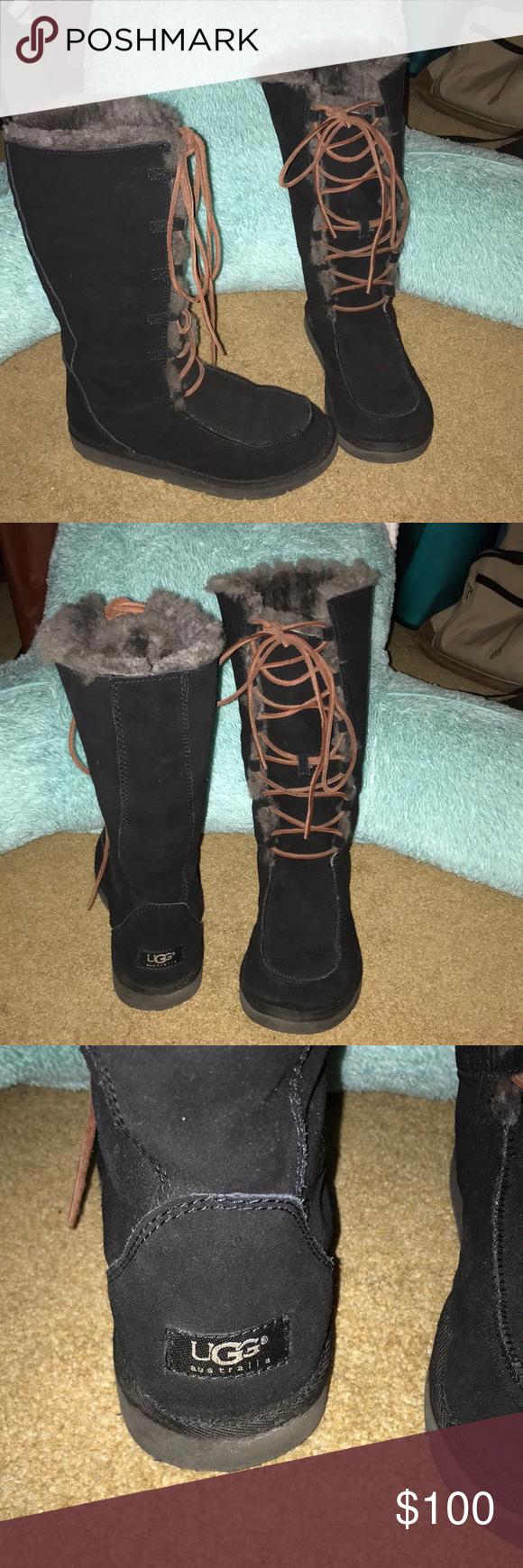 363d47c420a UGG Australia Tall Black Lace up Winter Boots Ugg Australia Tall ...