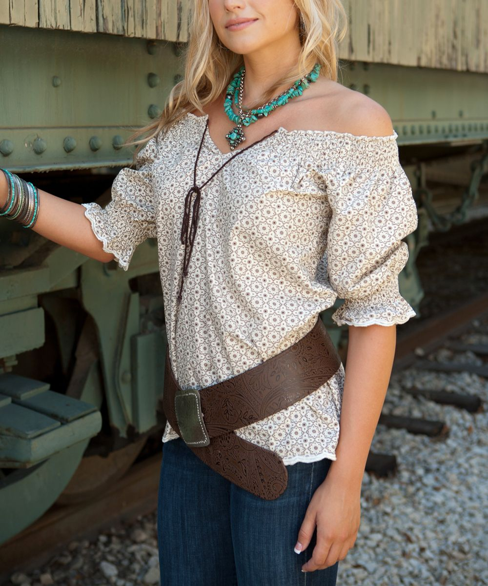22f9774c54c7fc Brown   Cream Off-Shoulder Top - perfectly paired with jeans or shirt and  boots.
