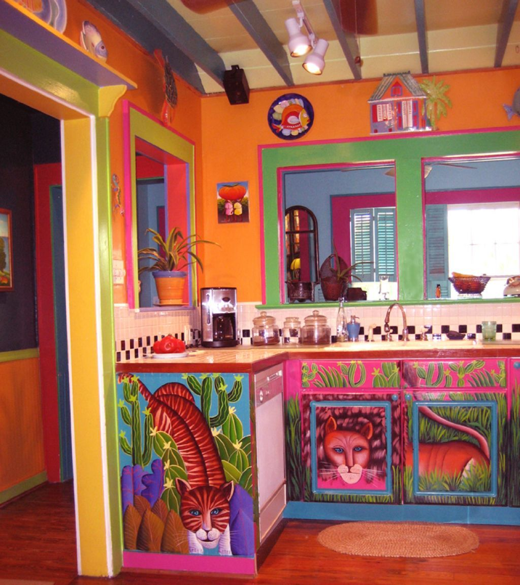 Interior , Bring A Lively Look With Mexican Interior Design : Colorful  Kitchen Idea With Mexican Feel For Superb Design