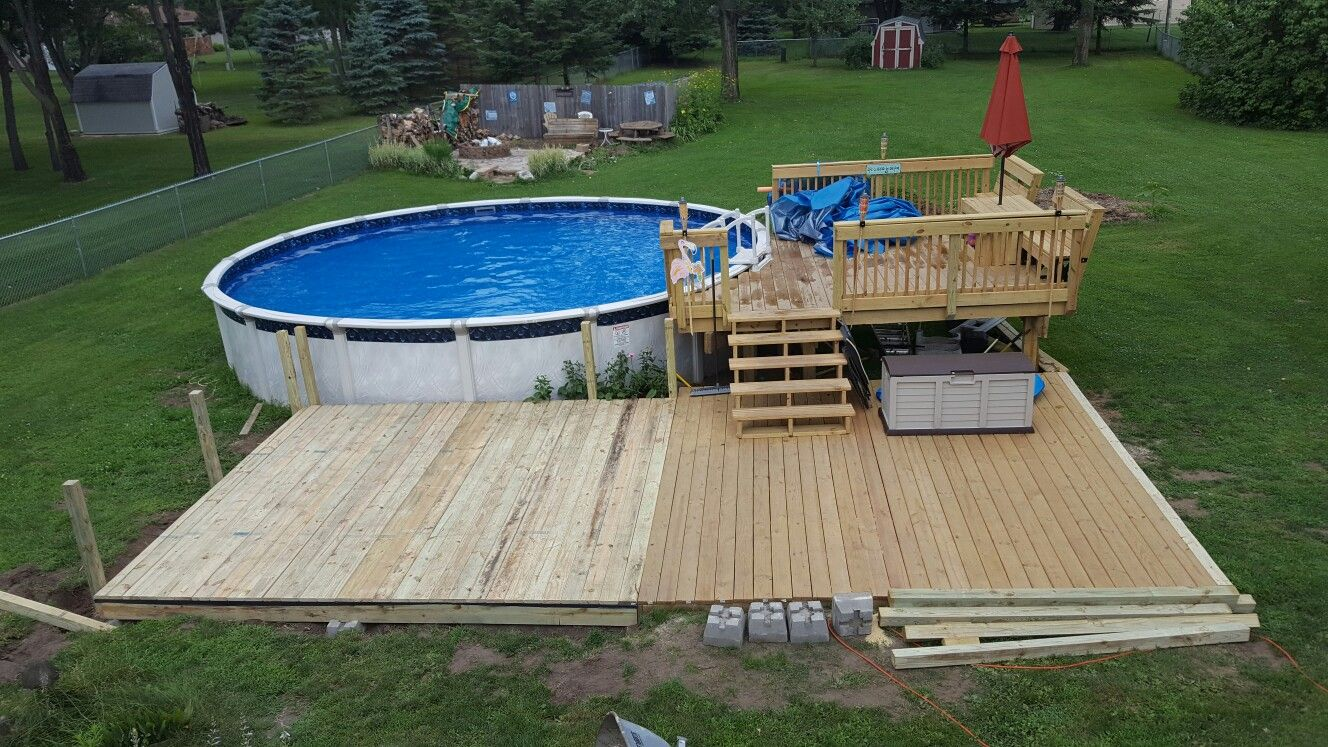 Straight Off Porch But Can Lower Level Be Concrete Then Upper Part Wood Building A Pool Pool In Ground Pools