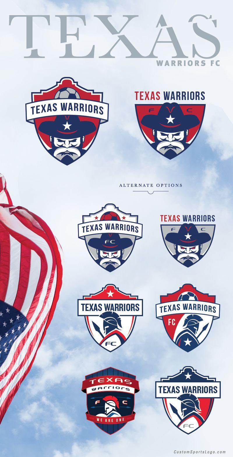 soccer crest design options for the texas warriors fc by jordan