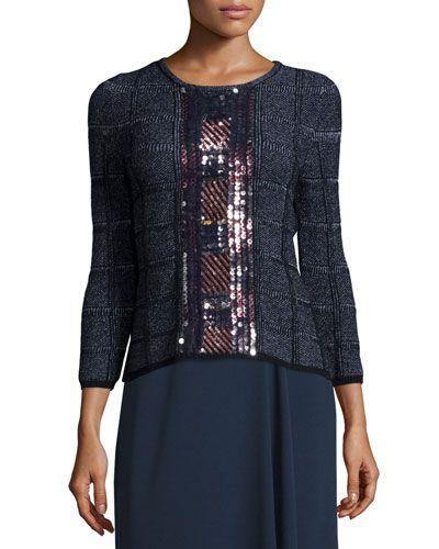 ESCADA 3/4-Sleeve Embellished Pullover Top, Midnight Blue. #escada #cloth #