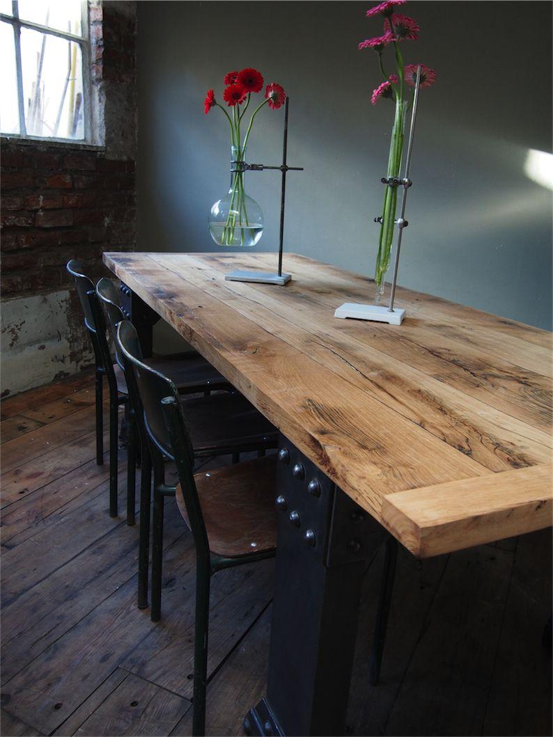 plateau chene massif table industrielle