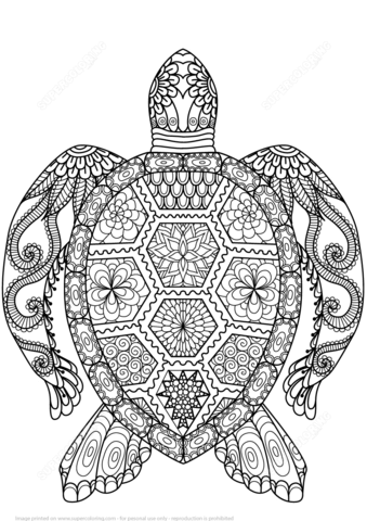 Turtle Zentangle coloring page from Zentangle category. Select from ...