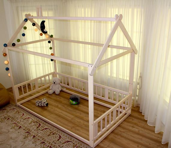 Montessori bed, house bed, children bed, Toddler bed, kid bed, wood ...