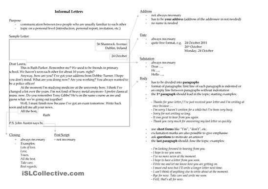 Writing An Informal Letter Worksheet Free Esl Printable  Ingls
