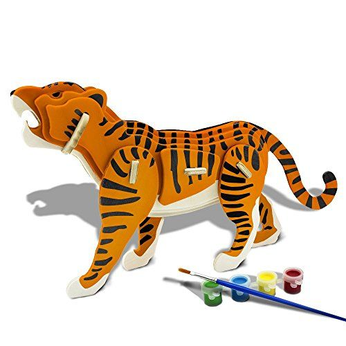 Bfun Tiger 3d Woodcraft Puzzle Kit Assemble Paint To View Further For This Item Visit The Image Link Diy Painting Wood Crafts Wooden Puzzles