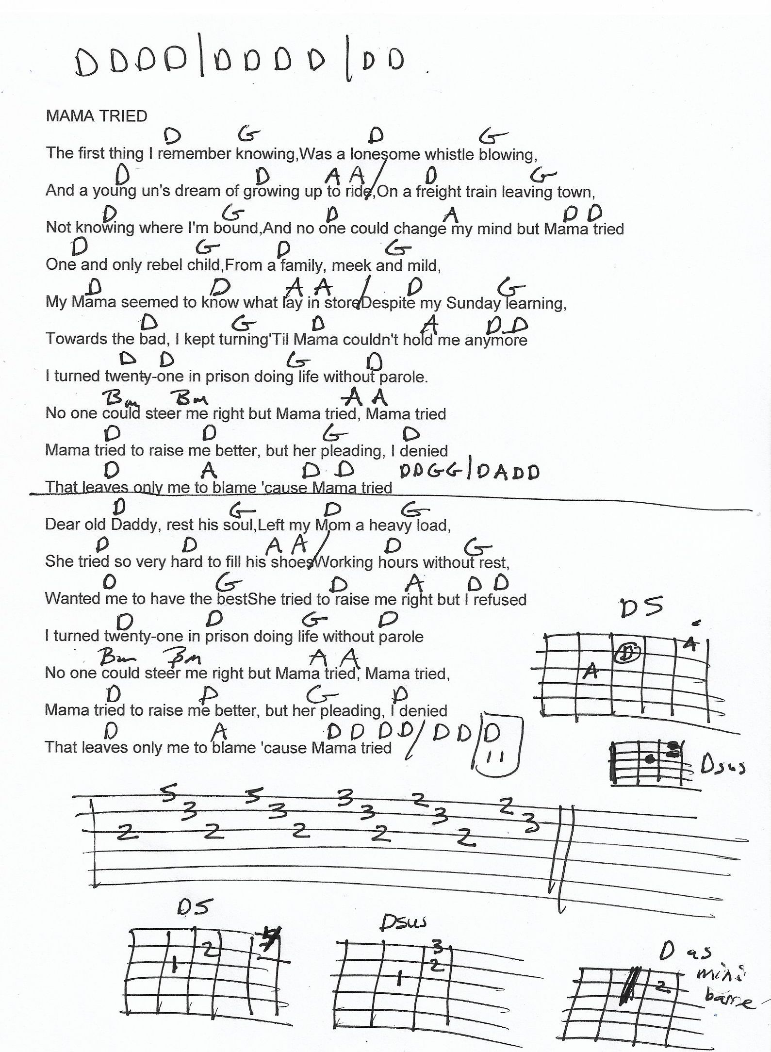 Mama Tried Merle Haggard Guitar Chord Chart   Guitar lessons ...