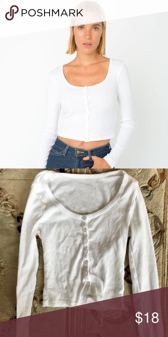 80fefe2c1c American Apparel rib long sleeve crop top AA Long sleeve cotton button up American  Apparel Tops Crop Tops