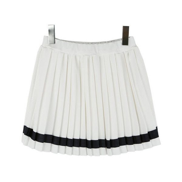 Pleat Me Right Skirt (930 MXN) ❤ liked on Polyvore featuring skirts, bottoms, modekungen, & - clothing - skirts, pleated skirt, knee length pleated skirt, cotton pleated skirt and cotton skirts