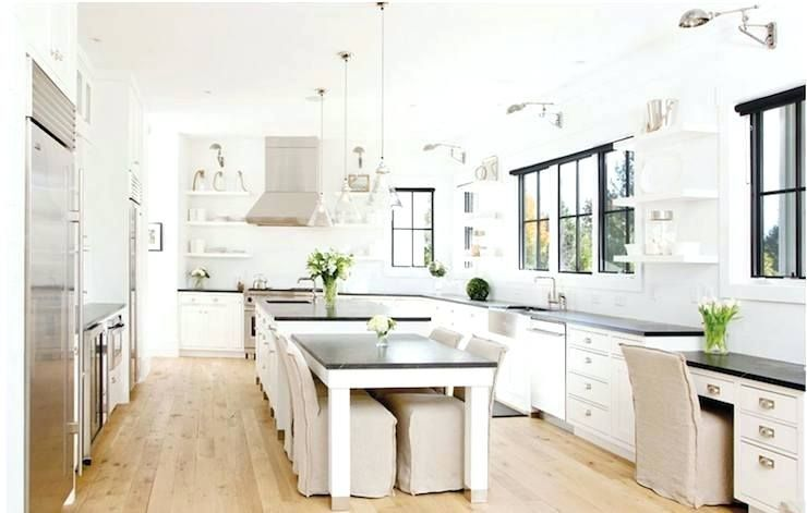 Image Result For Farmhouse Table Attached To Island Kitchen Island Dining Table Dining Table In Kitchen Kitchen Layout