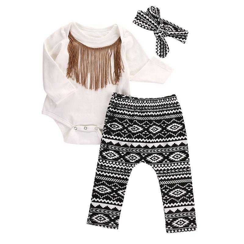 Cute Baby Girls Clothes Set 0 18m Newborn Infant Baby Cotton Tassel