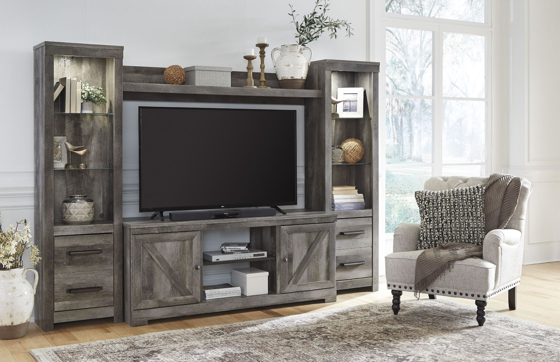 Wynnlow Gray Entertainment Wall Unit Fireplace Entertainment