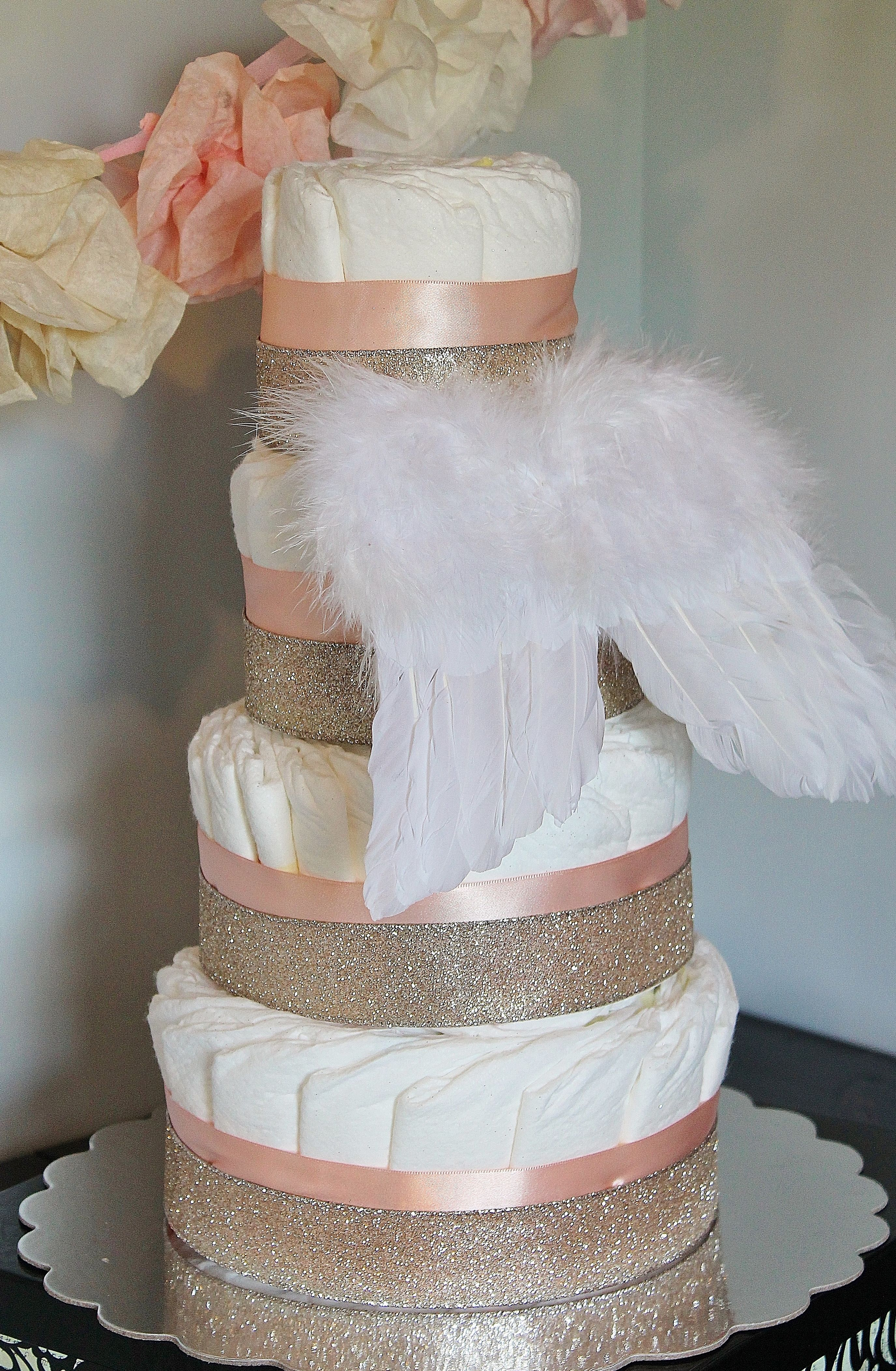Angel Wings Diaper Cake with Glitter Ribbon www.facebook.com ...