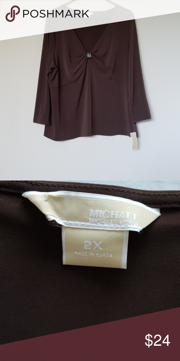 6bd0f65433 NEW Michael Michael Kors Top NWT gorgeous chocolate Michael by Michael Kors  top. 3 4 sleeve
