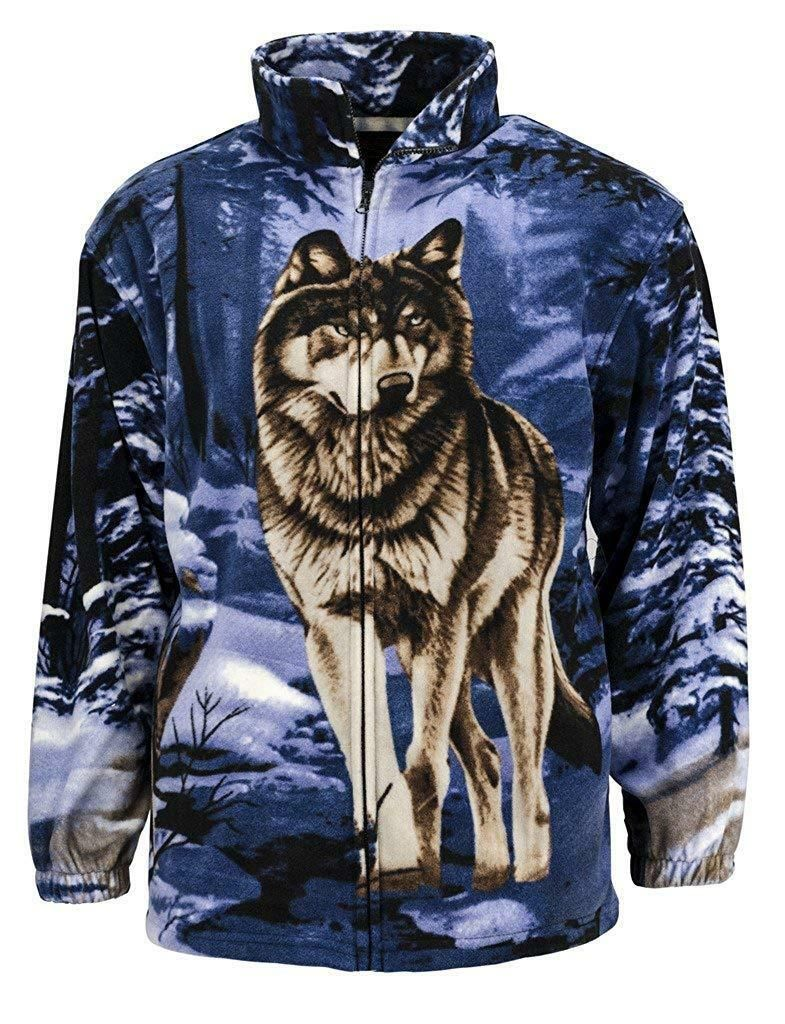TrailCrest R'lixio Fleece Blue Wolf Print Animal Jacket