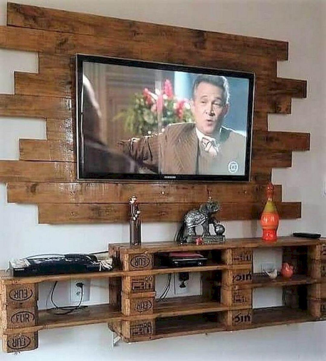 15 Best Wood Pallet Tv Ideas To Beautiful You Home Inspiration Meuble Tele En Palette Decoration Salon Couleur Idee Deco Bricolage
