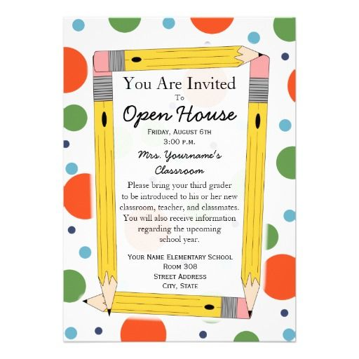 Back To School Open House Invitation Open house invitation School