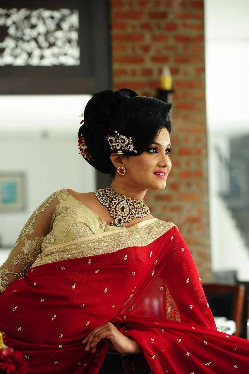 Sri Lankan bridal dressing for Indian style