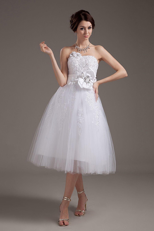 White short wedding dresses  ALine White Lace TeaLength Strapless Wedding Dress  Wedding