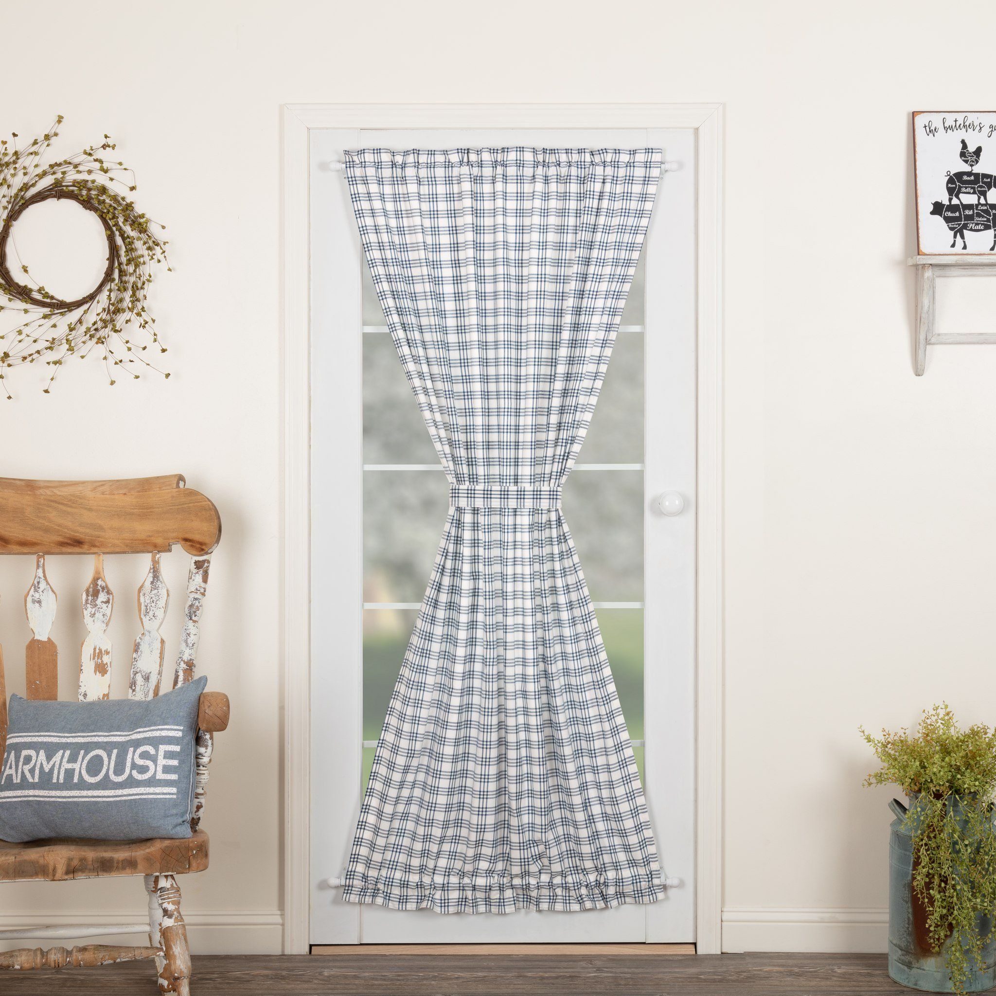 Sawyer Mill Blue Plaid Lined Door Panel Curtain 72 Panel Doors