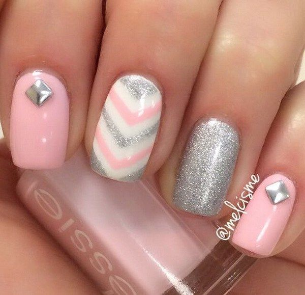 Pink and Silver Girly Nails with Chevron Lines. - 60+ Beautiful Chevron Nail  Art - Girly Nail Art Graham Reid
