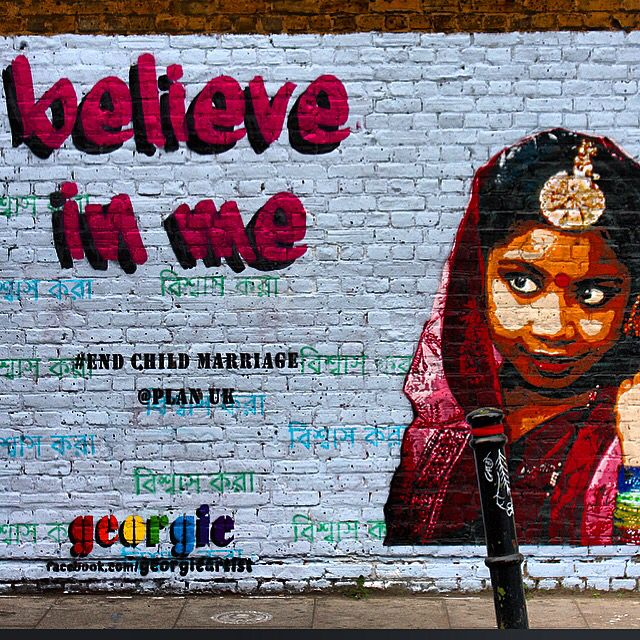 """Believe In Me"" #StreetArt by @georgieartist with Hadiqa Bashir in mind.. #EndChildMarriage plan_uk / #Art #Artist #Artwork #StreetArtEverywhere #Paint #SprayPaint #StreetPhotography #Graffiti #Draw #WallArt #Mural #Illustration #UrbanArt #HadiqaBashir #StreetArtPhotography / #London #Shoreditch #EastLondon #BrickLane #LondonStreetArt #TheBanglaTownWallProject / #Muse"