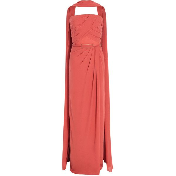 ELIE SAAB Crepe W/Shawl Gown (€2.675) ❤ liked on Polyvore featuring ...