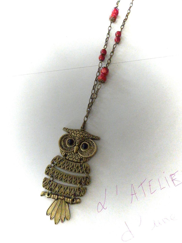 collier avec pendentif hibou bronze de 9 cm : Collier par myriam-et-ses-crea