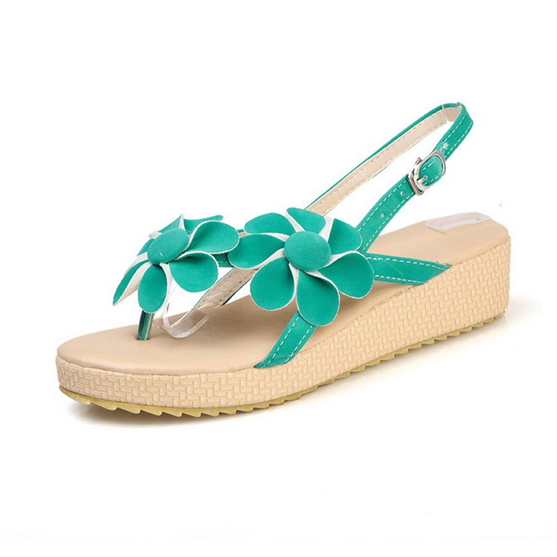 Women's Frosted Buckle Split Toe Low Heels Solid Sandals