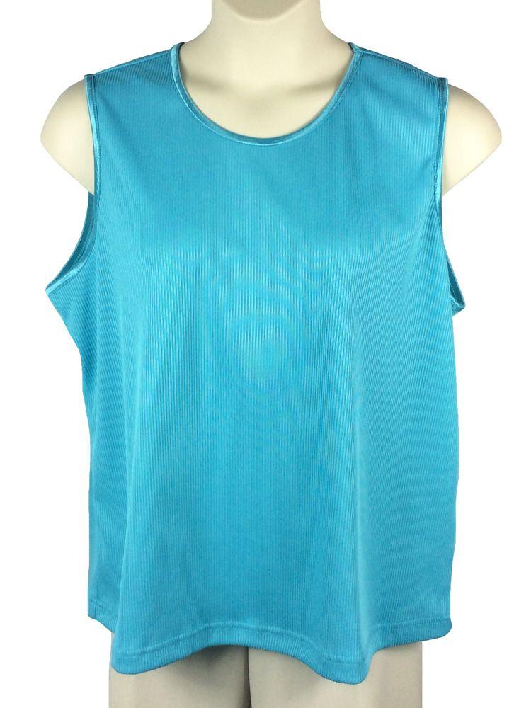 Womens Allison Daley Blouse Plus Size 3x Sleeveless Turquoise Rib