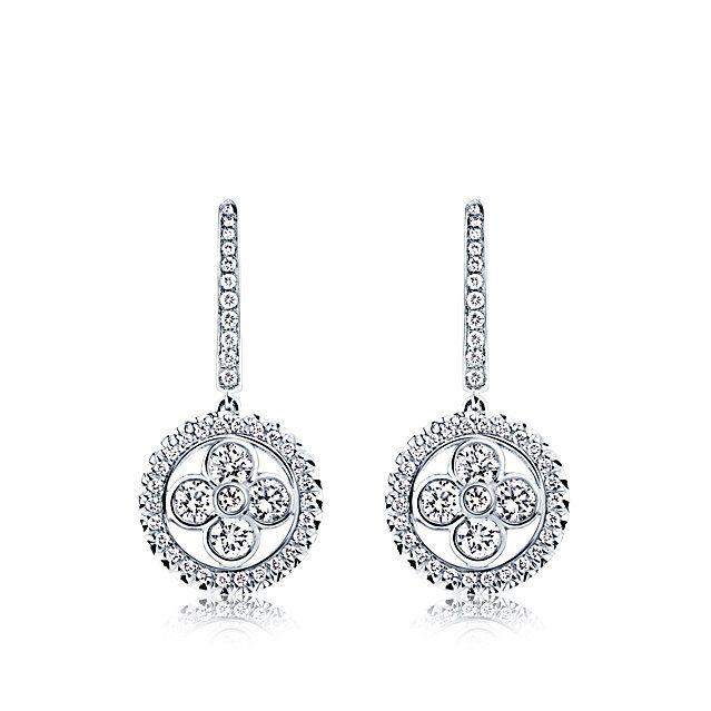 Louis Vuitton Dormeuses Monogram Forever Or Blanc Et Diamants