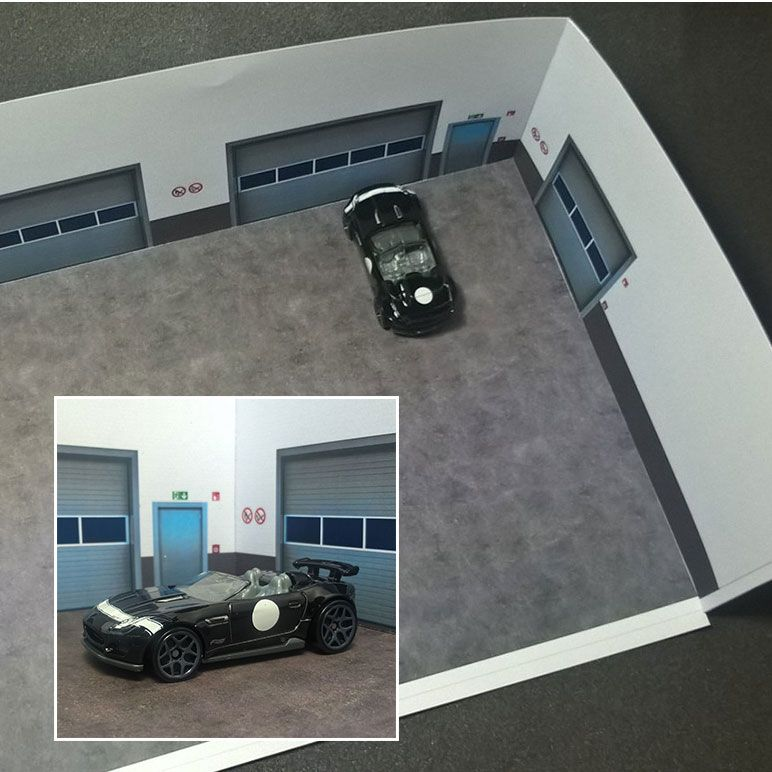 Here Is A New Free Diorama I Developed A Garage In Scale 1 64 But You Can Also Use It In Scale 1 87 And 1 43 If You Paper Models Diorama Free Paper Models