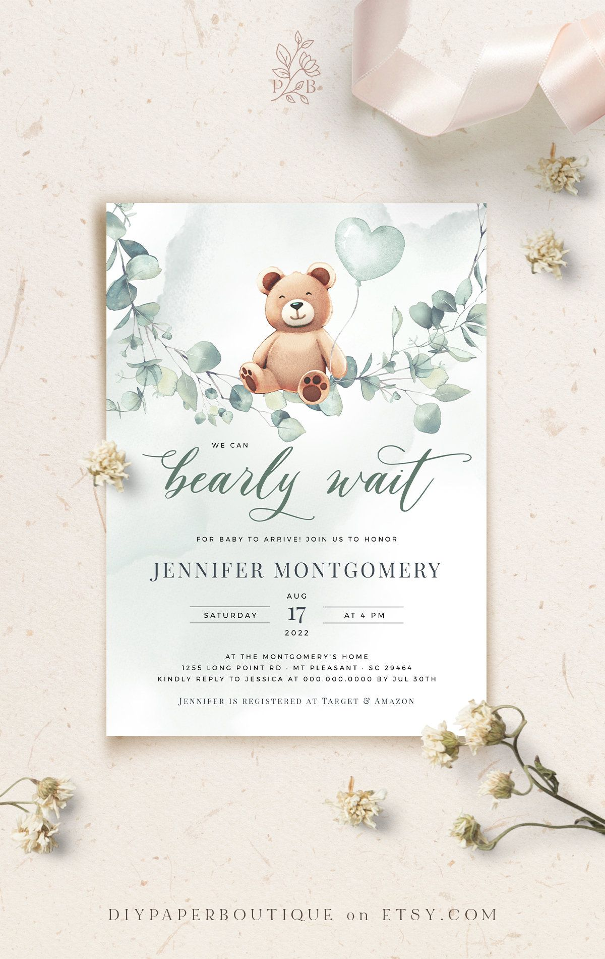 Fuzzy Boy Bear Baby Shower Invitation Template We Can Bearly Wait Watercolor Baby Bear Boy Invite Printable Bear Shower Invite Editable Baby Shower Invitation Templates Bear Invitations Baby Shower Invitations For