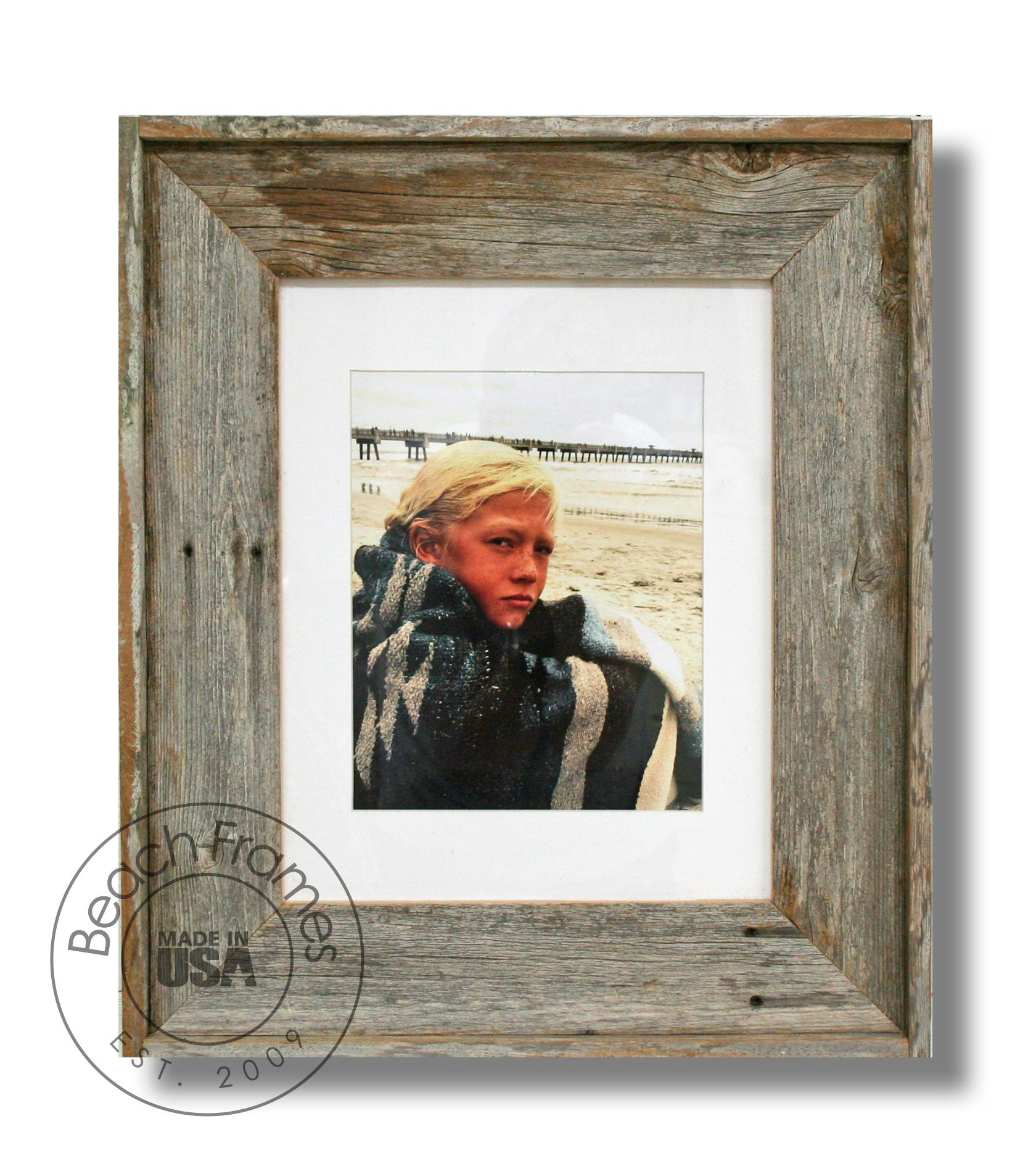 8 x 10 weathered reclaimed cypress wood picture frame with matting and plexiglass.  Hangs both ways.  Not made from dingy pallet wood.  Made in the USA. Visit www.BeachFrames.com