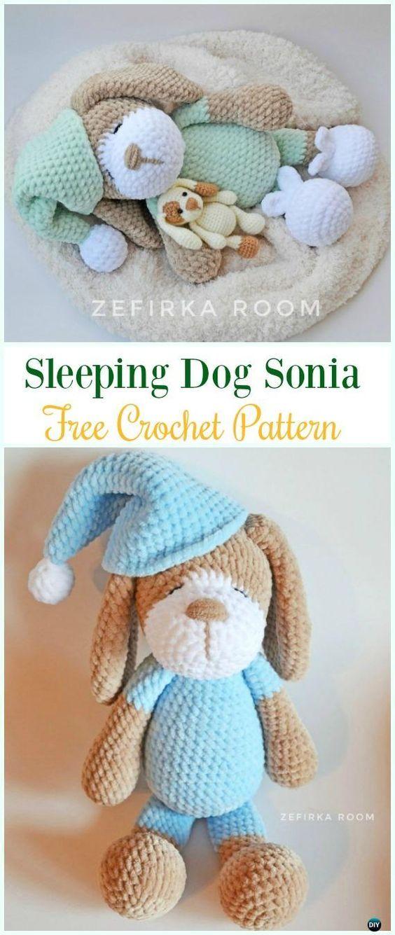 Crochet Sleeping Dog Patrón libre de Sonia Amigurumi - #Amigurumi ...