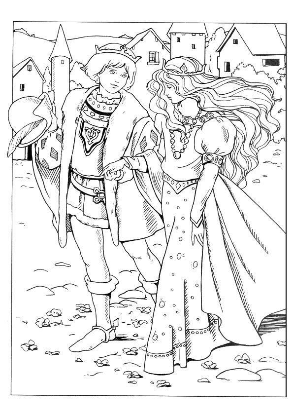 Princess colouring page | art | Pinterest | Edad media, Colorear y ...