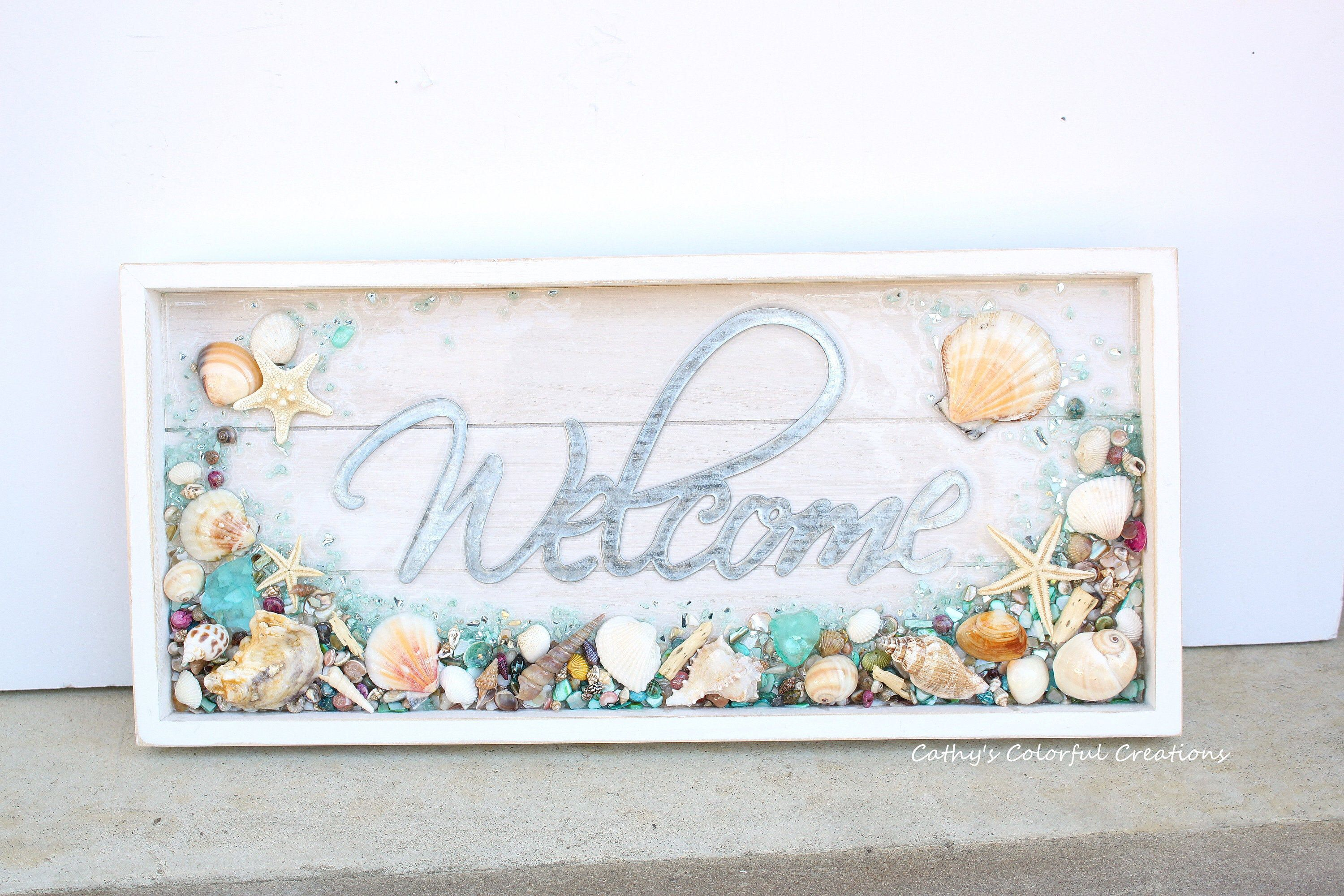 Welcome Sign Beach Welcome Sign Coastal Welcome Sign Beach Decor Coastal Decor Beach Wall Decor Shell Art Beach Art Ocean Wave In 2020 Welcome Sign Beach Glass Art Beach Wall Decor