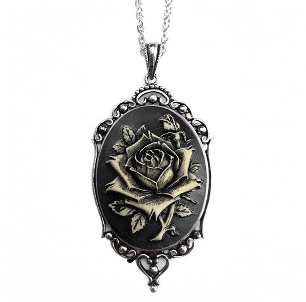 Photo of Black Rose Vintage Cameo Necklace