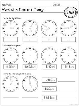 Math Common Core Assessments- 2nd Grade   El reloj, Emociones y Reloj