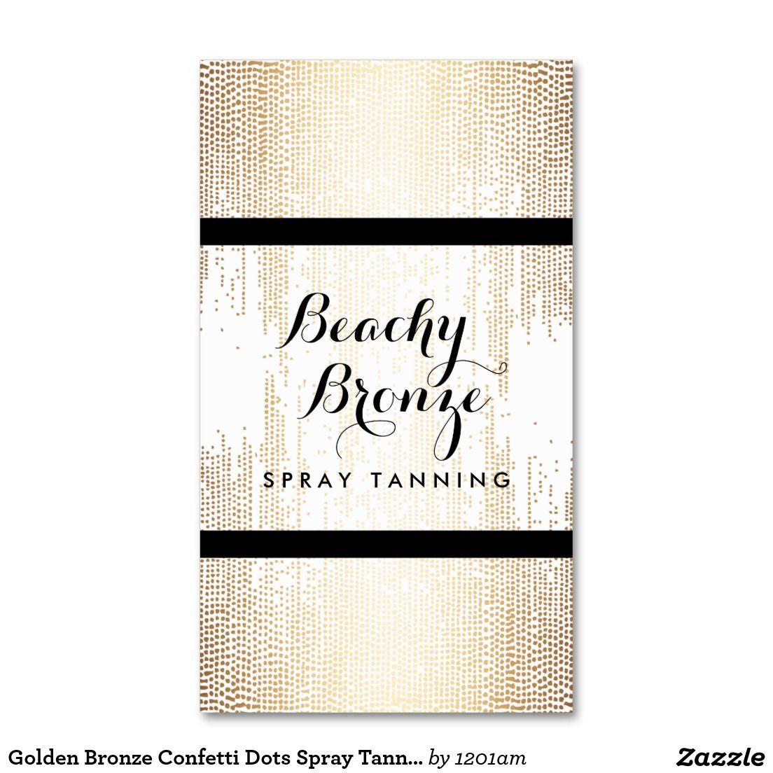 Golden Bronze Confetti Dots Spray Tanning Salon Business Card ...