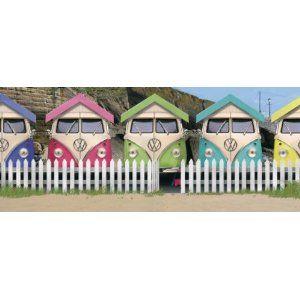 Vw Camper Van Beach Huts Wall Art Canvas Picture 120cm X 50cm X