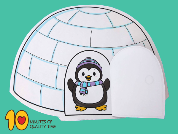 Penguin In Igloo With Opening Door Whale Coloring Pages Owl