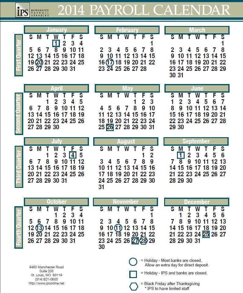 2014 Payroll Calendar iPS Payroll Updates Pinterest