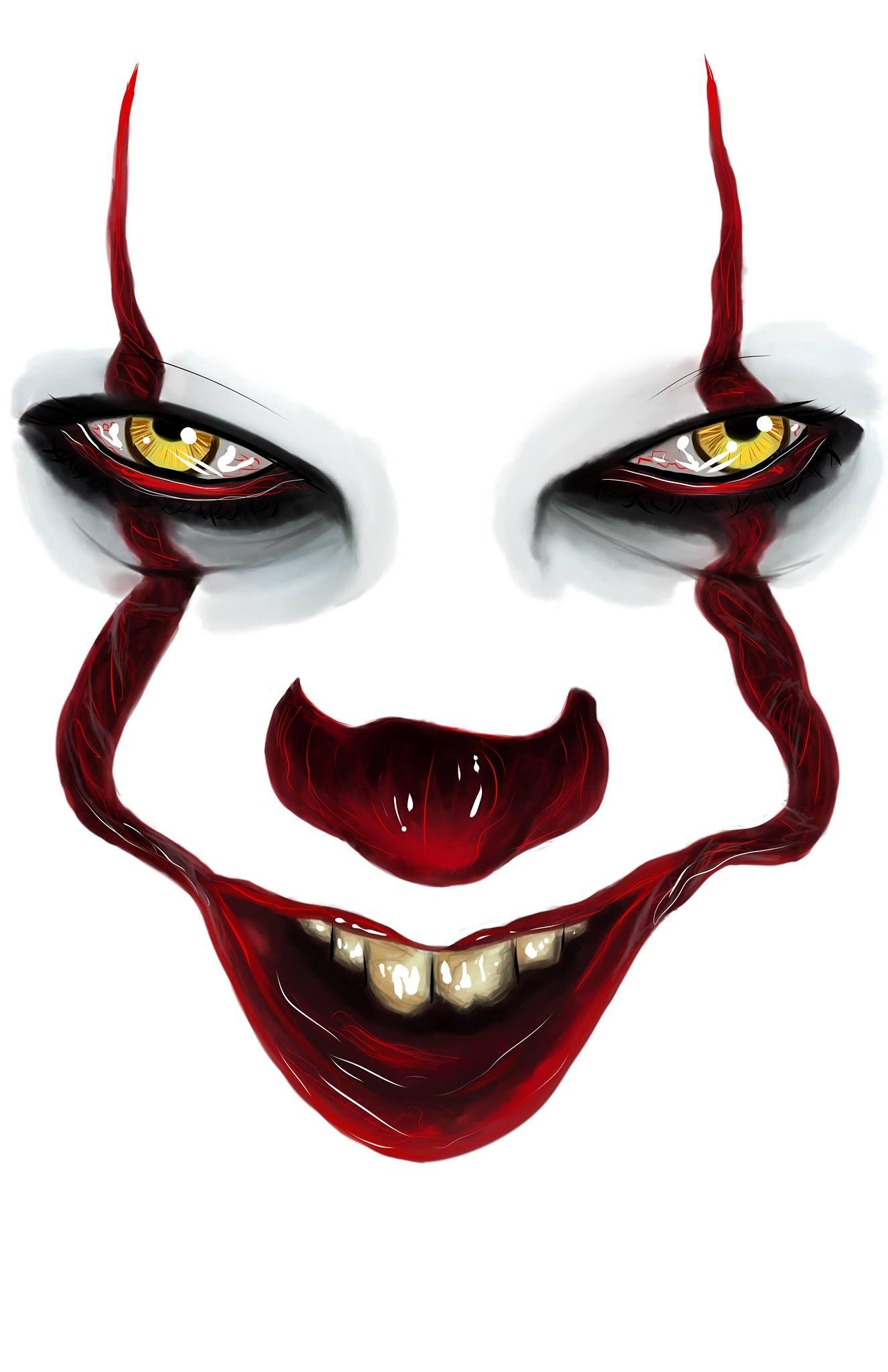 It Pennywise Portrayed By Bill Skarsgard Drawn By Alexa Wayne In 2020 Es Der Clown Joker Kunst Gesicht Malen
