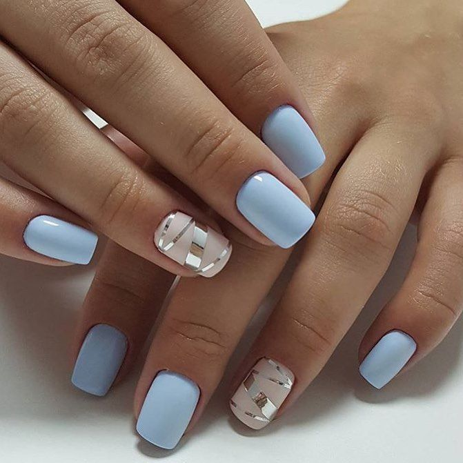 Light Blue Metallic Lines Nails